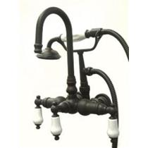 "Kingston Brass CC11T5 3 3/8"" Center Wall Mount Clawfoot Tub-Shower Mixer Faucet-Oil Rubbed Bronze"