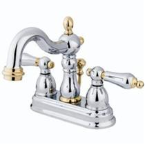 Bathroom Faucets Kingston polished chrome with polished brass accents . kitchen & bathroom