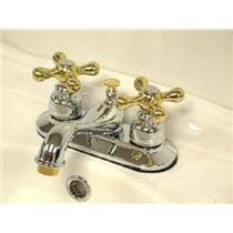 "Kingston Brass KB604X Victorian 4"" Centerset Bathroom Sink Faucet - Polished Chrome With Brass Trim"