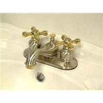 "Kingston Brass KB609X Victorian 4"" Centerset Bathroom Sink Faucet - Satin Nickel With Brass Trim"