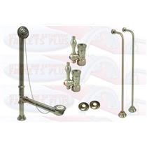 Satin Brushed Nickel Clawfoot Drain, Supply & Stop Kit - Single Offset