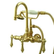 "Kingston Brass 3 3/8"" Center Wall Mount ClawFoot Tub Filler & Hand Shower Polished Brass CC7T2"