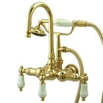 "Kingston Brass 3 3/8"" Center Wall Mount ClawFoot Tub Filler & Hand Shower Polished Brass CC11T2"