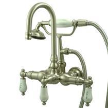"Kingston Brass 3-3/8"" Center Wall Mount ClawFoot Tub Filler & Hand Shower Satin Nickel CC9T8"