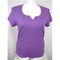 Ladies Plus Size 26/28W Rib Knit Cotton Top with Rounded Hem in Purple