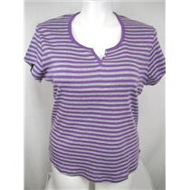 Ladies Plus Size 16W Rib Knit Cotton Top with Rounded Hem in Purple Stripe