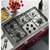 "GE PROFILE 36"" 5 BURNERS GAS COOKTOP STAINLESS JGP963SEKSS  BENT CORNER"