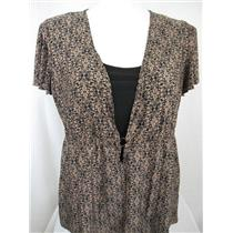 Daisy Fuentes Woman Size 1X Short Sleeve Scoop Neck Polyester Brown Print Top