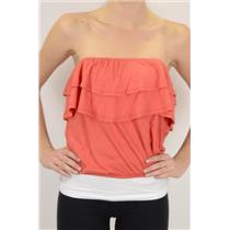 M NWT Blue Life by Planet Blue Persimmon Red/Orange Ruffle Jersey Strapless Top
