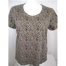 Bobbie Brooks Brown Cheetah Print Scoop Neck Short Sleeve Embellished Top