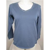 Avenue Plus Size V Neck Light Weight 100% Pima Cotton Top Silver Accent on Front