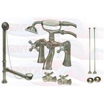 "Kingston Brass CCK268SN 7"" Deck Mount Claw Foot Tub Filler-Shower Mixer Kit - Satin Nickel"