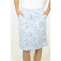 8 Nicole Miller Collection Blue Paisley A-Line Twill Skirt Knee Length Side Zip