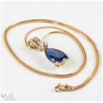 "Custom Made 18k Yellow Gold Chatham Sapphire & Diamond Pendant W/22"" Chain"