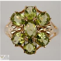 Lovely 10k Yellow Gold Oval Cut Peridot Cocktail Ring 6.70ctw