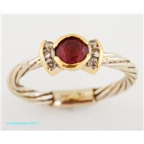 Unique Cable Band 14k  2-Tone Gold Round Cut Pink Tourmaline & Diamond Ring