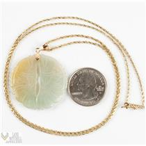 """Unique 14k Yellow Gold Nephrite Jade Etched Pendant W/ 24"""" Chain"""