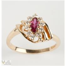 Eye Catching 14k Yellow Gold Marquise Cut Ruby Solitaire Ring W/ Diamond Accents