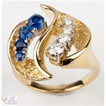 Handmade One of a Kind 18k Yellow Gold Diamond & Sapphire Cocktail Ring 1.0ctw