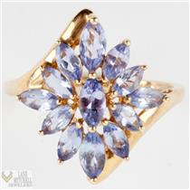 Ladies Lovely 14k Yellow Gold Marquise Cut Tanzanite Cocktail Ring 1.0ctw