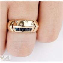 Unique Custom 14k Yellow Gold Baguette Cut Sapphire &  Round Cut Diamond Ring