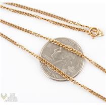 "Classic 18k Yellow Gold Italian Curb Chain 20 "" Long 2mm Width 7.7g"