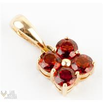Charming 14k Yellow Gold Round Cut Garnet Flower Pendant .20ctw