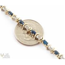 """Gorgeous Heavy 14k Yellow & White Gold Diamond and Sapphire Tennis Bracelet 7"""""""