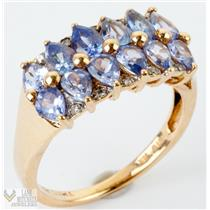 Beautiful 14k Yellow Gold Natural Tanzanite & Diamond Cocktail Ring 1.92ctw