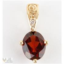 Elegant 14k Yellow Gold Oval Garnet Filigree Pedant w/ Diamond Accent 3/4""