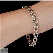 Gorgeous Heavy 18k White Gold Diamond Oval Chain Link Tennis Bracelet 1.23ctw 7""