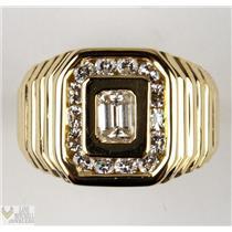 Stunning Men's 18k Yellow Gold Emerald & Round Cut VS / H Diamond Ring 1.25ctw