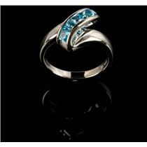 Ladies Modern 14k White Gold Square Cut Swiss Blue Topaz Five-Stone Ring .55ctw