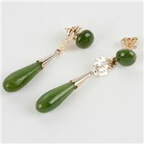 Ladies 14k Yellow Gold Tear Drop Cut Jadeite Dangle Earrings 3.3g