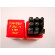 "1/25""  1MM  9 Number Punch Stamp Set  Metal-Steel-Hand-Serial#-Tools-Bars"