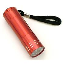 "9 LED Flashlight - Red Aluminum Body - Pocket size - 3-1/4"" Long-Camping-  (B128"