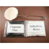 Crucible Dish & Tong Set + Borax & Chapman Flux-Gold Recovery-Melting-Silver 401