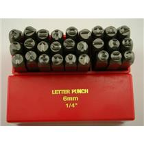 "1/4"" 27 A-Z Letter Punch Stamp Set Hardned 40 CRV Steel 64 HRC Heavy Duty"