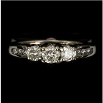 Ladies 14k White Gold Round Cut Diamond Engagement Ring .45ctw Size 3.25