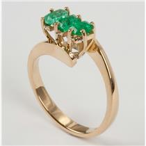 Ladies 18k Yellow Gold Emerald Cut Three Stone Emerald Ring .60ctw