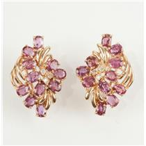 Stunning 14K Yellow Gold Oval Cut Ruby & Diamond Flower Earrings 5.60ctw