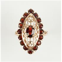 Stunning 10k Yellow Gold Marquise & Round Cut Garnet Cocktail Ring with Filigree