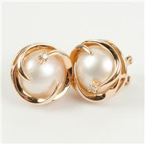 Unique 14k Yellow Gold Natural Mabe Pearl / DIamond Omega Back Earrings