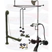 Oil Rubbed Bronze Clawfoot Tub Faucet Package – Faucet, Shower Enclosure W/Head, Drain & Supply Kit