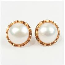 Traditional 14k Yellow Gold Button Mabe Pearl Stud Earrings with Butterfly Backs