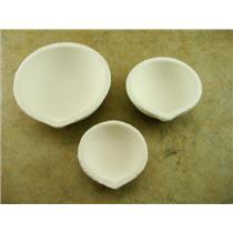 "Set of 3 Crucible Silica Dishes 3-1/2"", 2-5/8"" & 2-1/8"" -Gold-Melting-Silver"