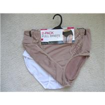 DELTA BURKE Size 2X Two (2) Microfiber with Lace Panel Full Briefs in Cafe/White