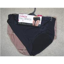 DELTA BURKE Size 2X Two (2) Microfiber with Lace Panel Full Briefs -Navy/Cafe