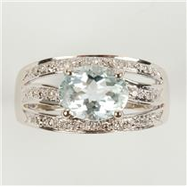 Ladies 14k White Gold Aquamarine Solitaire Cocktail Ring W/ Diamonds 2.40ctw
