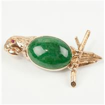 Stunning Unique 14k Yellow Gold Oval Cut Jadeite Parrot Pin W/ Ruby Eye Accent